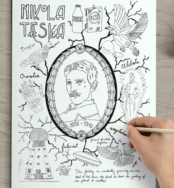 Superior Tesla Coloring Page. This Piece Is Inspired By The Great Inventor, Nikola  Tesla. It Features Hand Drawn Illustrations Featuring Different Aspects Of  Teslau0027s ...