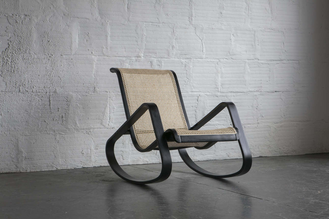 Dondolo Rocking Chair by Luigi Crassevig Full recane and lacquer restoration & Caning and Cording - AR Leaman